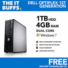 Dell Optiplex - Dual Core 4GB 1TB - 1.5TB HDD Windows 7 - Desktop PC Computer