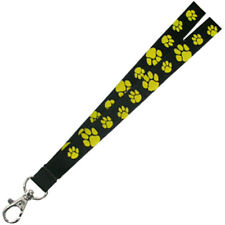 PinMart's Black and Gold Paw Print School Mascot Lanyard with Safety Release