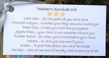 10 x Teacher's Survival Kit TAGS, End of Term Gift, Thank you Teacher.TAGS ONLY