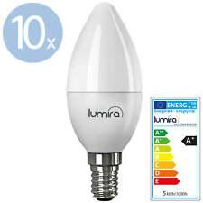 10x LUMIRA LED SMD Lampe E14 5W Watt 180° C37 Leuchte Kerze 400 Lumen Warmweiß