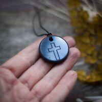BUDDHA LOTUS Engraved Shungite Pendant Necklace Authentic Natural Stone