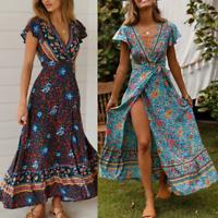 Holiday Wrap Beach Women Floral V-Neck UK Dress Ladies Summer Sundress Maxi BOHO