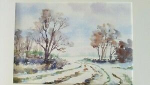 Original Watercolour Painting Snow Scene Signed By Artist Gwen Hall 24 x 17 cm