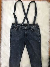 Joe Boxer Suspender Overall Jeans size 11 dark acid wash removable suspenders