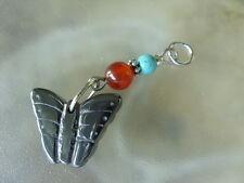 Hämatit Blutstein Ketten Anhänger Schmetterling mit roten Achat & Türkis Perle