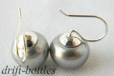 Nature 11mm Gray Freshwater Pearl Silver Dangle Earring