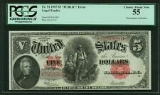 U.S.  1907  $5 LEGAL TENDER BANKNOTE  FR-91, CERTIFIED PCGS CHOICE ABOUT NEW 55!