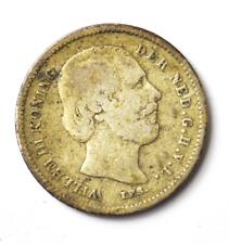 1887 Broad Axe & Star Netherlands 25 Twenty Five Cents KM# 81 Low Mintage Rare