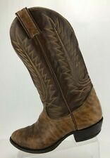 Tony Lama Vintage Cowboy Boots Brown Leather Pull On Mid Calf Mens Size 9 D