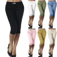 Women Slim Fit Skinny Capri Pants Summer Casual Cropped Stretch Jeggings Trouser
