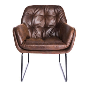 Leather Tufted Armchair Tub Padded Soft Seat Cushion Leisure Lounge Corner Chair