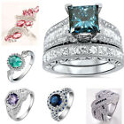 925 Silver Ring Women Pink Sapphire Topaz Amethyst Wedding Engagement Size 6-10