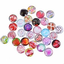 12mm 10 Random Mixed Love Heart Round Glass Cabochons Dome Flat Back Beads Lot