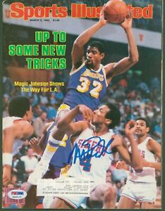 Lakers Magic Johnson Signed March 1984 Sports Illustrated Magazine PSA #4A92171