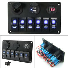 12V 6 Gang Rocker Control Switch Panel RV Boat Marine Waterproof Circuit Breaker