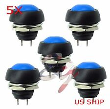 Blue 5 Pcs M4 12mm Waterproof Momentary ON/OFF Push Button Round SPST Switch