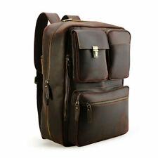 "Herren Leder Reise Handtasche Rucksack 16"" Laptop Umhängetasche Wandern Backpack"