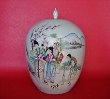 Chinese Kangxi Famille Rose Celadon Porcelain Enamel Ginger Jar with Lid