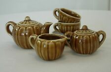Old Vintage Miniature Tea Set 7 Piece Brown Embossed Made In Occupied Japan TM