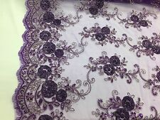 3D RIBBON FLOWERS EMBROIDER WITH SEQUINS ON A PURPLE MESH-SOLD BY THE YARD