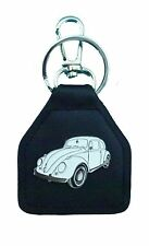 White Early Model Volkswagon Beetle, Quality Leather Keyring