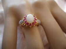 Antique Vintage Gold Ring with Opal and Rubies and Diamonds ring size 7 or O
