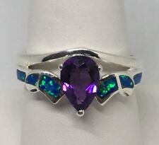 NOS Sterling Silver 925 Ring Size 6 w/ Lab Created Opals and Amethyst Cut Stone