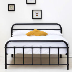 Metal Bed Frame Victorian Style Single Small Double Double King Size Black White