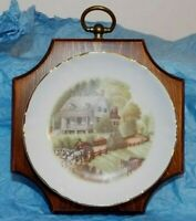 Currier & Ives American Homestead Summer Plate On Hanging Wood Decor 5.5 x 5.5