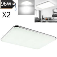 2X 96W LED Ceiling Light Ultra Thin Cool White Flush Mount Kitchen Home Fixtures