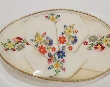 Vintage NOS Set of 6 Embroidered Petit Point Handkerchiefs - Made in Switzerland
