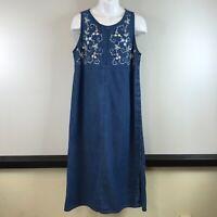 Erika & Co Blue Denim Maxi Dress Jumper Sleeveless Modest sz L Floral Embroidery