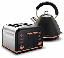 Morphy Richards Accents Pyramid Kettle and 4 Slice Toaster Set - Black/Rose Gold
