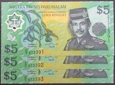 Brunei $5 polymer D5 573391 - 393 cons nos 3 pcs 2002 unc