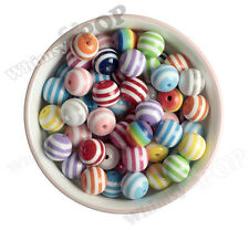 16mm - 15pcs Mixed Color Striped Gumball Beads Bubble Gum Spacer Small Round USA