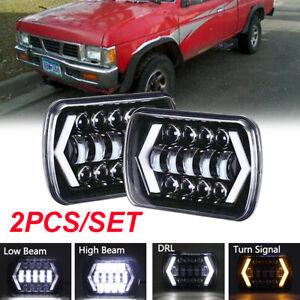 Pair 5x7 7x6''inch LED Headlight Hi-Lo Beam DRL For Nissan Pickup Hardbody D21