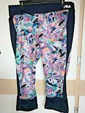 Nice Exercise Pants Bottoms Fila Sport Size Xl Black Pink Green White Swirls