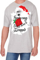 Adults Novelty Santa Print T-Shirt Christmas Explicit Festive Funny Rude Top