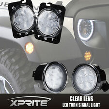 Xprite LED Turn Signal & Fender Side Light Clear Lens for 14-18 Jeep Wrangler