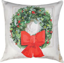 "Decorative Pillows - Christmas Wreath Pillow - 18"" Square - Indoor Outdoor"