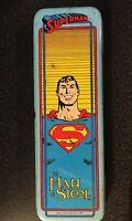 Vtg SUPERMAN Pencil Box Enesco Metal 1987 Blue Shows Rust Man of Steel