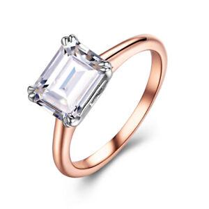 Cubic Zirconia 8X6mm 2.6ct Generous Beauty Engagement Wedding Ring 14K Rose Gold
