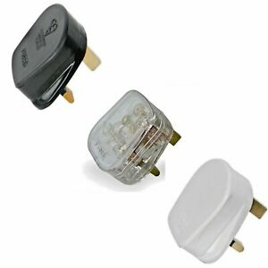 3A 5A 10A 13A Mains Power Rewireable UK 3 Pin FUSED Plug BLACK WHITE TRANSPARENT