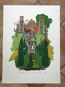 "PAUL HOGARTH OBE RA (1917-2001) ""Garsington Manor"" Limited Ed Lithograph ed150"