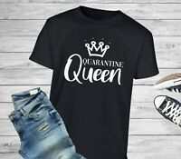 Quarantine Queen Self Isolating Social Distancing Novelty Crown T-Shirt/Tee