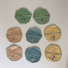 8 VINTAGE LINEN WINE GLASS COASTERS SLIPPERS with MADEIRA EMBROIDERY