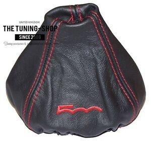 """For Fiat 500 Abarth 07-15 Gear Boot Black Leather """"500"""" Red Embroidery"""