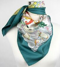 New Gucci Large Teal Silk Floral Scarf w/Four Season Print 341483 4478