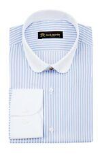 Jack Martin - Peaky Blinders Style - Blue & White Bengal Stripe Slim Fit Shirt