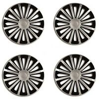 "13"" VAUXHALL ALL MODELS BLACK & SILVER WHEEL TRIMS SET OF 4 HUB CAPS BRAND NEW"